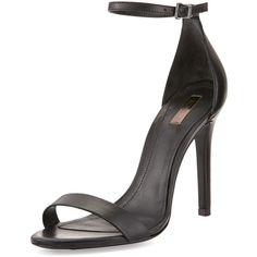 Schutz Cadey-Lee Leather Ankle-Strap Sandal, Black found on Polyvore