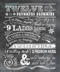 Twelve Days of Christmas - Chalkboard Look Print - 11 x 14 (Also Green or Red Variations). $20.00, via Etsy.