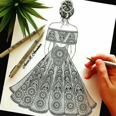 Cute Doodle Art, Doodle Art Designs, Doodle Art Drawing, Mandala Drawing, Mandala Art Lesson, Mandala Artwork, Art Drawings Sketches Simple, Abstract Pencil Drawings, Dress Design Sketches