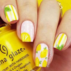 lemon nail art for summer 2016 ornament for females, which is typically made of linen, lemon, becomes a popular idea of nail designs. nails are exquisite and elegant application to finish women's fashion. Fruit Nail Designs, Acrylic Nail Designs, Nail Art Designs, Nails Design, Acrylic Nails, Watermelon Nail Art, Fruit Nail Art, Food Nail Art, Trendy Nail Art