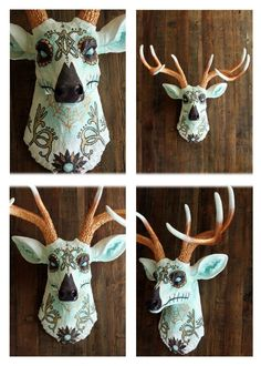 Day of the dead painted deer head, faux taxidermy. Price reduced $140  http://item.mobileweb.ebay.com/viewitem?itemId=261107838843