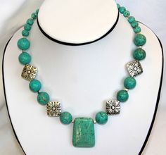 FREE SHIPPINGTurquoise Howlite Necklace by TheBentBead on Etsy, $30.00