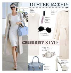 """""""Duster Jackets: Miranda Kerr"""" by junglover ❤ liked on Polyvore featuring moda, Michael Kors, LnA, The Row, Ray-Ban, Tom Ford, Marc by Marc Jacobs y Bobbi Brown Cosmetics"""