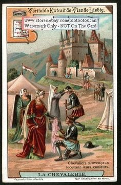 Middle Ages Knights Receiving Their Colors c1915 Card