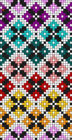 Diamonds plaid rainbow perler bead pattern Would make a great cross stitch patte. Diamonds plaid rainbow perler bead pattern Would make a great cross stitch pattern Bead Loom Patterns, Beading Patterns, Embroidery Patterns, Crochet Patterns, Crochet Scarf Diagram, Crochet Chart, Cross Stitching, Cross Stitch Embroidery, Hand Embroidery