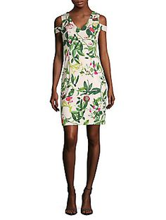 Donna Ricco Floral-Print Cold-Shoulder Dress