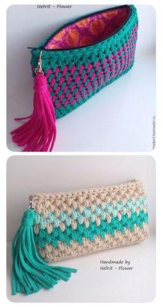 Ostaja, jossa on nahkaisen pohjapussin virkkaus - Artofit - AmigurumiHouse Crochet Clutch Bags, Crochet Wallet, Crochet Purse Patterns, Crochet Handbags, Crochet Tote, Crochet Purses, Crochet Crafts, Crochet Stitches, Knit Crochet