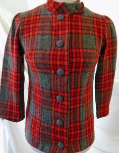 Women's Red Plaid Wool Blazer Hand Made Button Front 3/4 Sleeves Size S…
