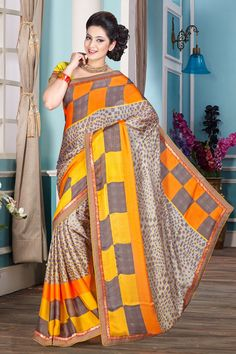 Cream Grey Chiffon Saree with Art Silk Blouse Price:-£29.00 New arrival Cream Grey Chiffon Saree with Art Silk Blouse and Printed Pallu, Round Neck Blouse, Short Sleeve. This is prefect for party wear, wedding, festival, casual, ceremonial. These designs are presented by Andaaz Fashion http://www.andaazfashion.co.uk/cream-grey-chiffon-saree-with-art-silk-blouse-dmv7846.html
