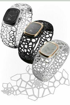 Relógio com pulseira feita em impressora 3 D
