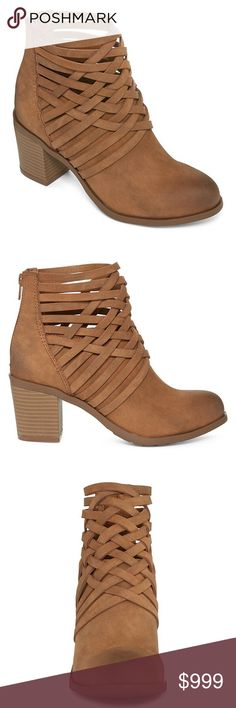 """Orlando Woven Ankle Booties, sz. 6.5 Orlando Woven Ankle Booties   PRODUCT DESCRIPTION Our ankle booties feature a high heel, back zipper and a cage-like upper with crisscrossing fabric woven together for a chic look. polyurethane upper 2¾"""" heel back zipper rubber sole Shoes Ankle Boots & Booties"""