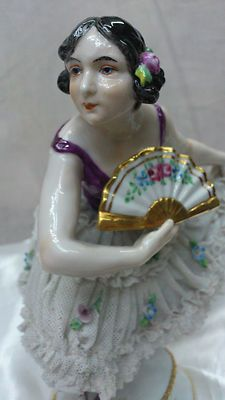 Antique Dresden Porcelain Lace Dancer with Fan Italy Figurine Capodimonte | eBay