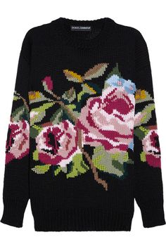Black mid-weight wool Needlepoint-style rose pattern at front, chunky ribbed trims Slips on 100% virgin wool Dry clean
