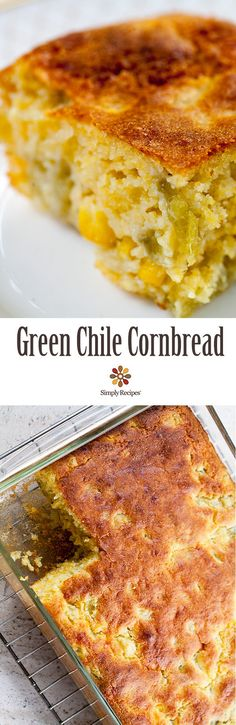 Green Chile Cornbread ~ Flavorful and moist green chile cornbread! Packed with corn, cheese, and Anaheim or Hatch green chiles. Great for #LaborDay potluck! ~ SimplyRecipes.com