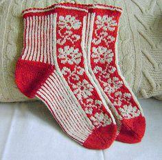 """Ravelry: tarelkaz's """"White & Red"""" Knit Socks, Knitting Socks, Hand Knitting, Fiber Diet, Boot Toppers, How To Start Knitting, Leg Warmers, My Works, Ravelry"""