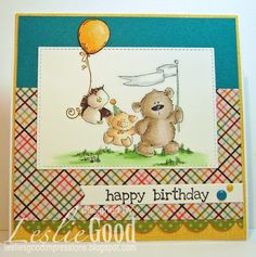 The Stuffie Gang card by Leslie Good, image Stamping Bella
