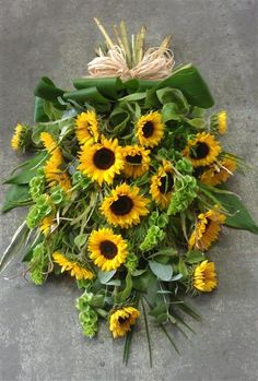 Sunflower Tied Sheaf Funeral Tribute
