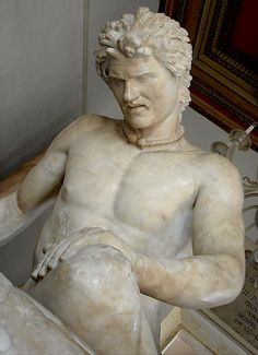 The Dying Gaul, Roman marble copy of a lost ancient Greek statue that was commissioned some time between 230 and 220 BCE by Attalos I of Pergamon to honor his victory over the Galatians. The statue depicts a dying Celt with remarkable realism. He is represented as a Gallic warrior with a typically Gallic hairstyle and moustache. The figure is naked save for a neck torc. He is shown fighting against death, refusing to accept his fate.