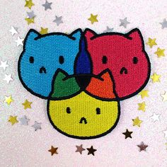 Patch CMYKitties cmyk rgb designer cute cat jacket iron on sew on embroidery applique Iron On Embroidery, Embroidery Patches, Embroidery Applique, Cute Patches, Pin And Patches, Embroidered Name Patches, Cat Patch, Ideias Diy, Cute Pins