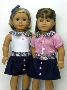 """18 inch doll clothes AG doll clothes tank top with peter pan collar navy skirt and pink sweater 18"""" doll clothes by Unendingtreasures on Etsy"""
