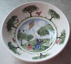 NIKKO REMEMBER WHEN BOWL Deb Mores 1999 Cereal Bowl White Blue Clouds