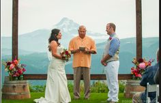 My gorgeous nephew and his beautiful bride with Mt. Hood as the back drop!