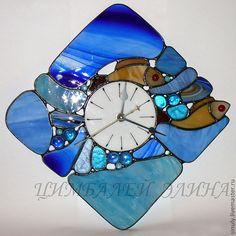 """Витражные часы """"Рыбки"""". - синий,часы,часы настенные,часы интерьерные,часы для дома"""
