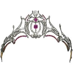 Ruby and diamond tiara, second half of the 19th century | lot |... ❤ liked on Polyvore featuring jewelry, crown, accessories, diamond jewellery, crown jewelry, ruby jewelry, wine jewelry and ruby jewellery