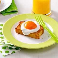 """Sunny-Side-Up Dessert Recipe -My boys love this sweet take on eggs and toast. To make the """"egg yolk,"""" you can use all sorts of fruit, or even vanilla or butterscotch pudding. —Crystal Jo Bruns, Iliff, Colorado"""