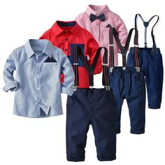 Toddler Boys Clothing Set Cotton Long Sleeved Bow Tie Shirt and Pants Bow Tie Shirt, Bow Shirts, Tied Shirt, Baby Boy Suit, Baby Pants, Blazer Vest, Plaid Shorts, Toddler Boy Outfits, Toddler Boys