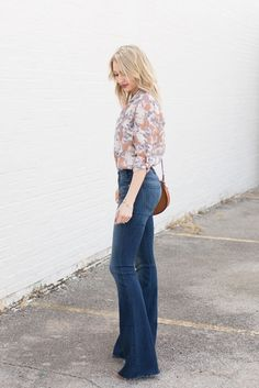 Floral blouse tucked into high-waisted flares | Love, Lenore