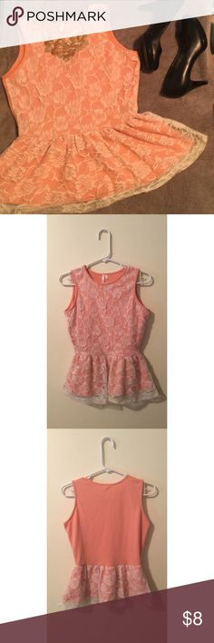 Beautiful orange lace top!!! Gorgeous orange lace top. Wore once. No tears. Size medium but it's tight so it can fit a small. This can be wore with dress pants or a skirt. Great for work or date night. Offers accepted through the offer button. Thanks! Tops Tank Tops