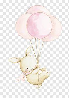 Balloon Illustration, Rabbit Illustration, Watercolor Illustration, Watercolor Paintings, Pink Watercolor, Nursery Drawings, Baby Animal Drawings, Cute Drawings, Happy Birthday Illustration