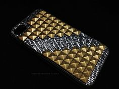 Black Glitter Brass Gold Studs Double Pyramid iPhone case $20.95