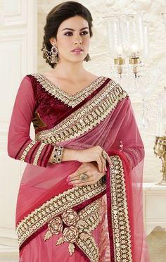 Light Pink Bridal Lehenga Saree Gotta Patti Zari Designer Net Satin Sari #SareeStudio