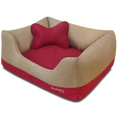 Blueberry Pet Microsuede Pet Bed, Recyclable and Removable Stuffing w/YKK Zippers, Machine Washable, Heavy Duty Overstuffed Beds for Cats and Dogs, Color-block Pattern in Beige and Red or Beige and Blue *** Details can be found by clicking on the image. Cheap Dog Beds, Dog Beds For Small Dogs, Cool Dog Beds, Dog Pillow Bed, Buy Pets, Pet Beds, Stuffing, Red Color, Blueberry
