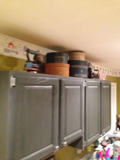 Thank you Annie Sloan chalk paint for giving me the inspiration to make-over the old oak cabinets in the laundry!