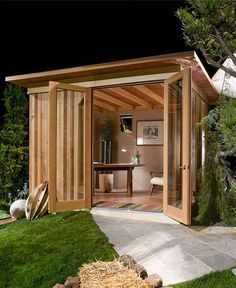 Garden sheds, man shed office, backyard office, backyard studio, garden stu Shed Office, Backyard Office, Backyard Studio, Backyard Sheds, Cozy Backyard, Outdoor Office, Outdoor Art, Backyard Cabana, Garden Sheds