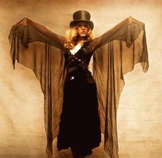 a lovely Stevie photo edit ~ ☆♥❤♥☆ ~ at heart, Stevie will always be a gypsy ~ love how her sheer black chiffon 'wings' are outspread Stevie Nicks Costume, Stevie Nicks Witch, Buckingham Nicks, Lindsey Buckingham, Indie, Stephanie Lynn, Stevie Nicks Fleetwood Mac, White Witch, Photoshop