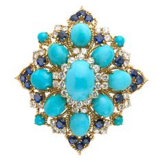 Persian Turquoise, Sapphire and Diamond Brooch - TEW Galleries