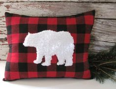 custom order for Mike : White Fur Bear Pillow Buffalo Check by CabinAndCoast on Etsy Cabin Christmas, Christmas Sewing, Plaid Christmas, Christmas Projects, Christmas Decor, Wool Pillows, Decorative Throw Pillows, Wool Blanket, Diy Pillow Covers