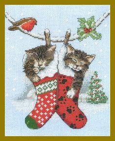 Feliz Natal: 2 Gatinhos dormindo em Meias de Natal