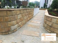 Natural stone landscaping – capping – paving – garden edging. It's without a doubt that the use of natural stone in Landscaping brings a project to another level. A nice capping, a stone wall or nice stone edging. Get the balance right with soft scaping and the combination is a winner.  - - sales@aussietecture.com.au P : 02 8378 0730 Sandstone Cladding, Sandstone Pavers, Stone Edging, Stone Landscaping, Stone Supplier, Backyard, Patio, Garden Edging, Natural Stones