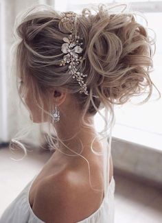 Loose Wedding Hair, Wedding Hair And Makeup, Wedding Updo, Bridal Hair Updo High, Wedding Hair Pieces, Bridal Updo With Veil, Wedding Upstyles, Chic Hairstyles, Hairstyle Ideas
