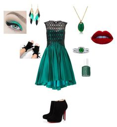 """""""Green"""" by love4nerds1124 ❤ liked on Polyvore featuring moda, Ariella, Bling Jewelry, Christian Louboutin, BERRICLE, Silvia Rossi y Essie"""