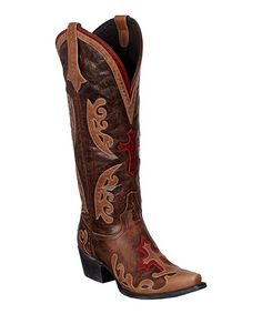 Look at this #zulilyfind! Distressed Brown Grace Cowboy Boot