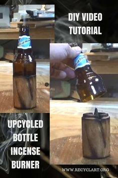 Video Tutorial: DIY Bottle Incense Burner makes a great gift - Jewelry Organizer Diy Wine Bottle Wall, Glass Bottle Crafts, Diy Bottle, Glass Bottles, Diy Videos, Old Wooden Crates, Light Garland, Diy Garland, Fused Glass Jewelry