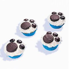 Cub Cakes: Your cubs will make tracks for the kitchen when they spy these paw-print cupcakes. Beware -- cub cakes walk away from kitchens fast.