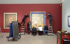 The Installation Of The Seurat Painting 'Le Cirque'.