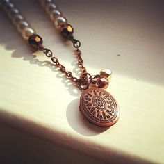 Czech Pearl Antique Copper Locket Necklace by JLPromiseJewellery, $38.00